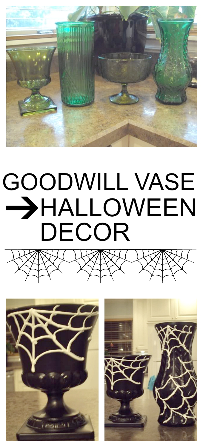 Goodwill Vase to DIY Halloween Decor