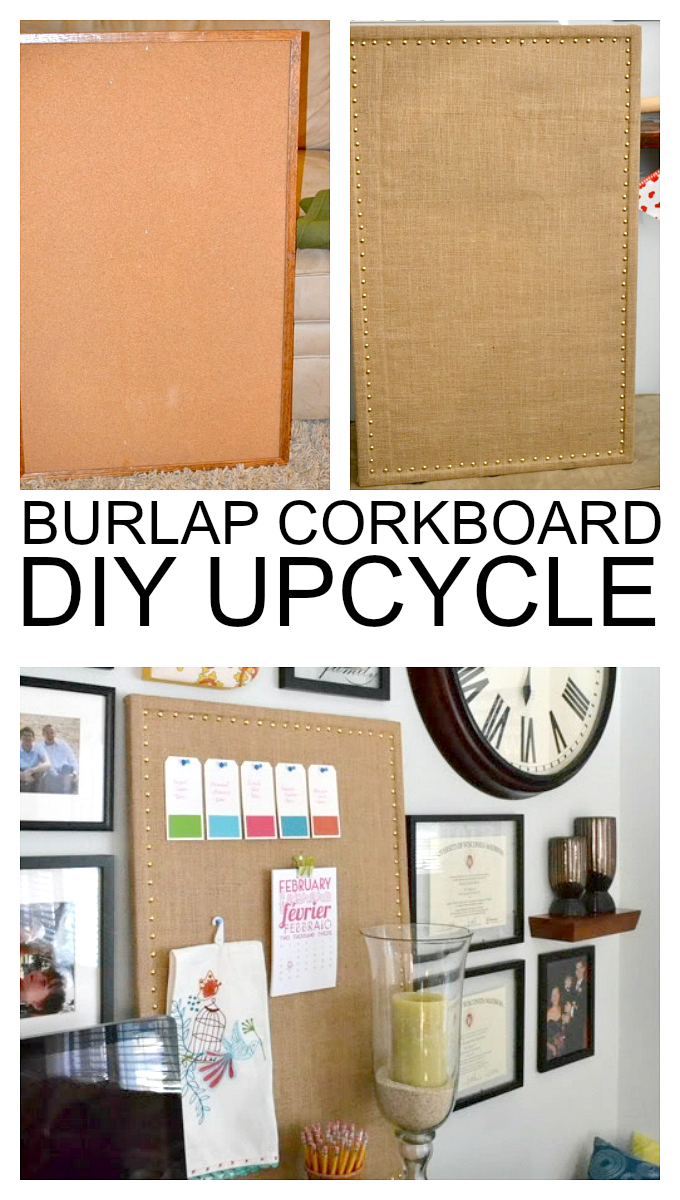 updated cork board balancing home with megan bray fun diy cork message board upcycle ballard design knockoff burlap memo board for a