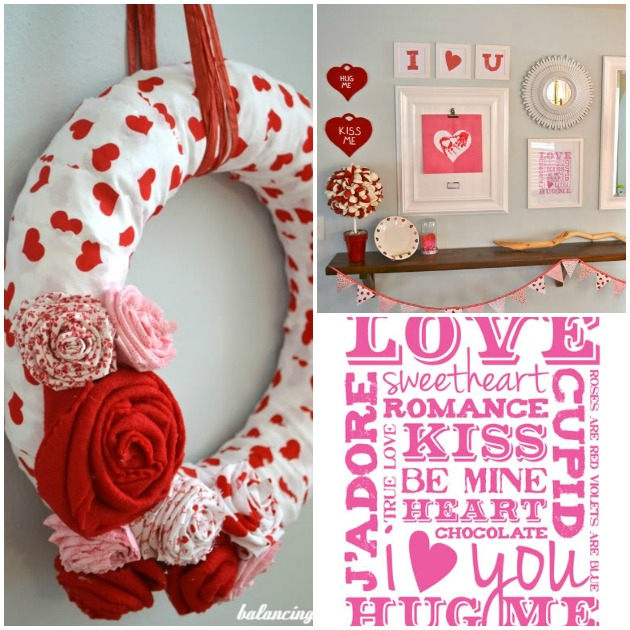 Valentineu0027s Day Collage With DIY Wreath, Fabric Flowers, Printable And  Mantle