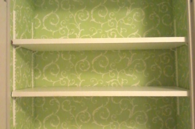 Wallpapered Kitchen Cabinet