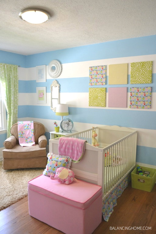 Striped girls room w/DIY projects