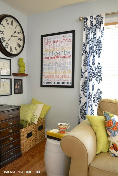 Stenciled drapes, Custom Art work and Gallery wall