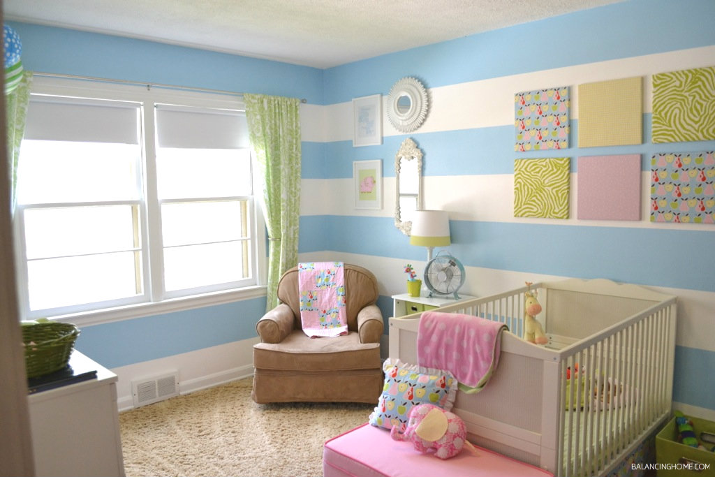 Small Bedroom Decor & Bedroom Decorating Ideas: green and blue baby girl nursery