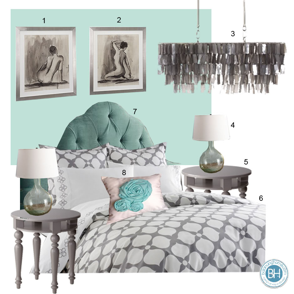 Mood Board: Antiguan Blue And Gray Bedroom