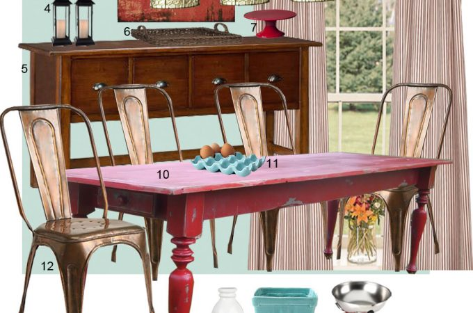 Mood Board: Turquoise and Red Dining Room (Farmhouse Inspired)