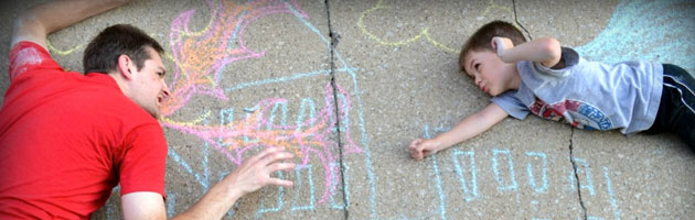 Sidewalk Chalk Superhero