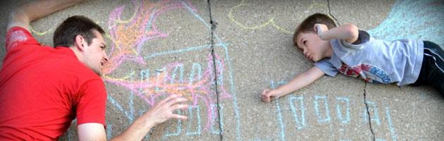 Sidewalk Chalk Superhero