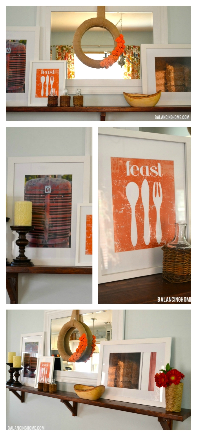 Fall vignette/mantel with feast printable. Perfect to carry-over for Thanksgiving.
