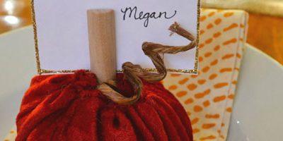Velvet Pumpkin Place Card Holder & Thanksgiving Table