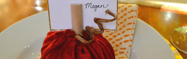 Velvet Pumpkin Place Card Holder & Thanksgiving Table