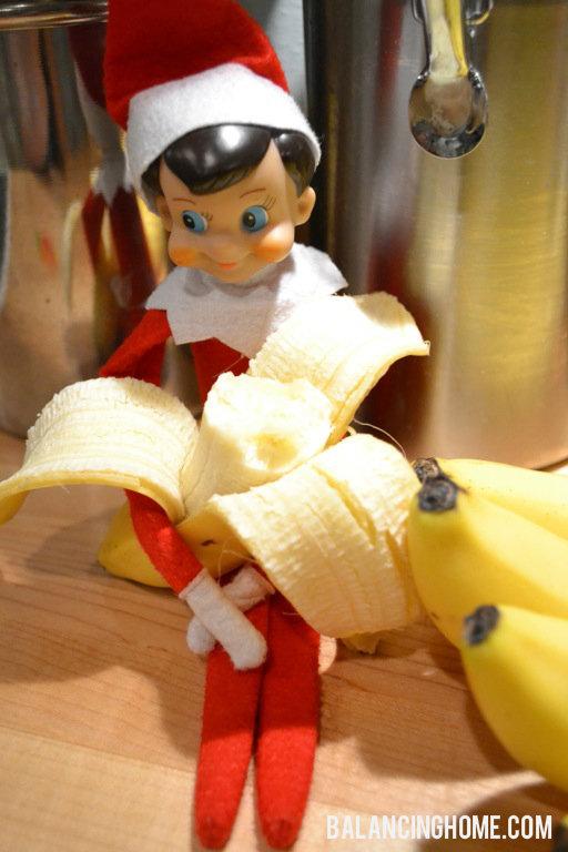 Elf On The Shelf Eating A Banana Balancing Home