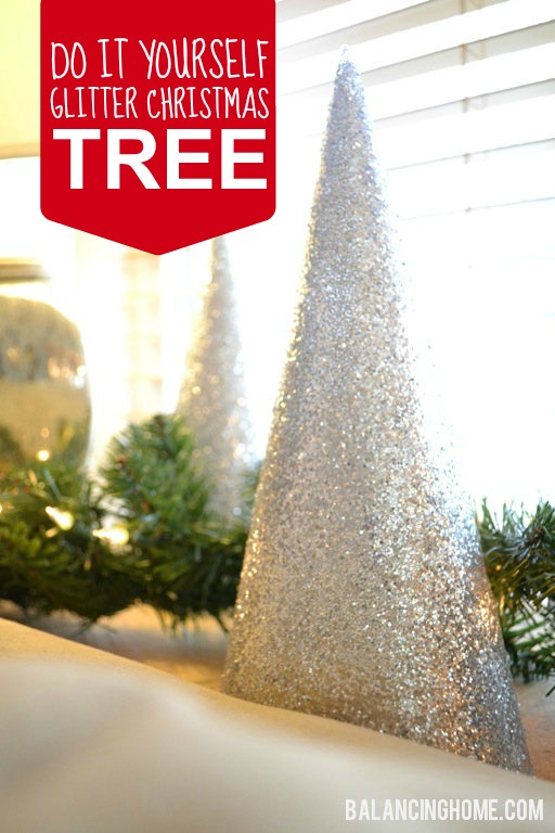 Diy glitter christmas tree balancing home diy glitter christmas tree solutioingenieria Choice Image