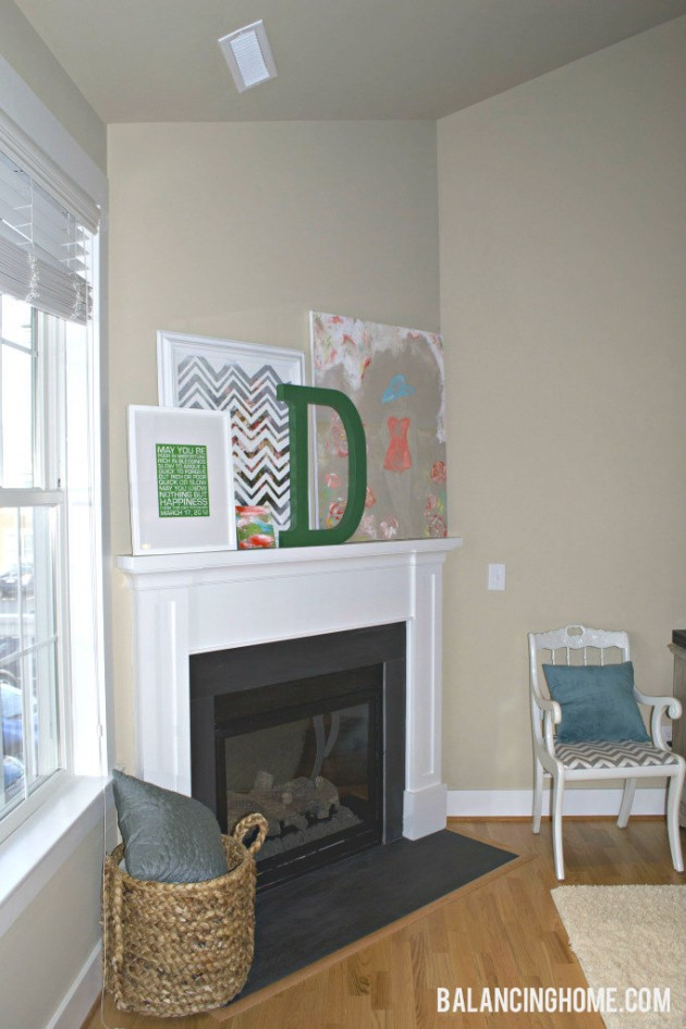 Mantle with DIY Art Work