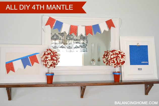 Fourth of July Mantle with Balloon Topiary