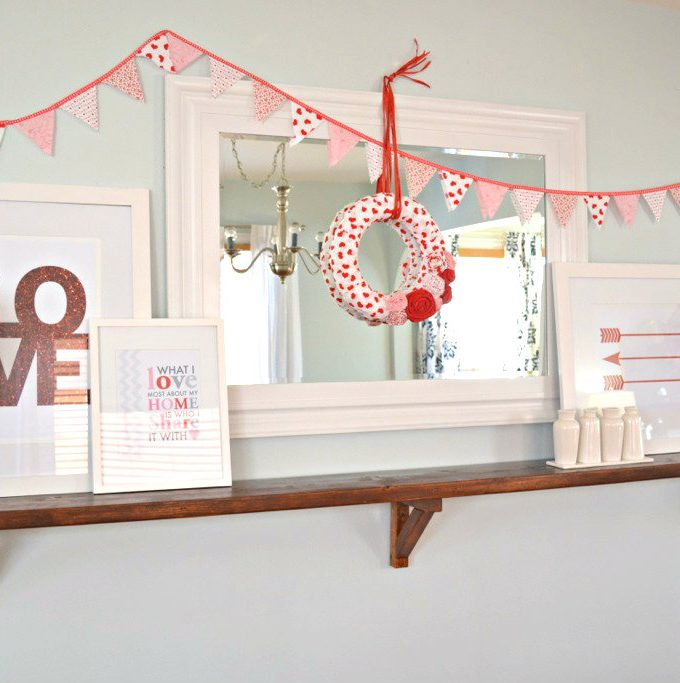 Valentine Shelf Vignette and Free Printables