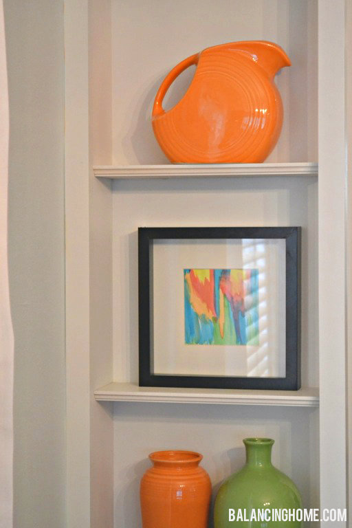 DIY Watercolor Art Shelf Vignette with Fiestaware