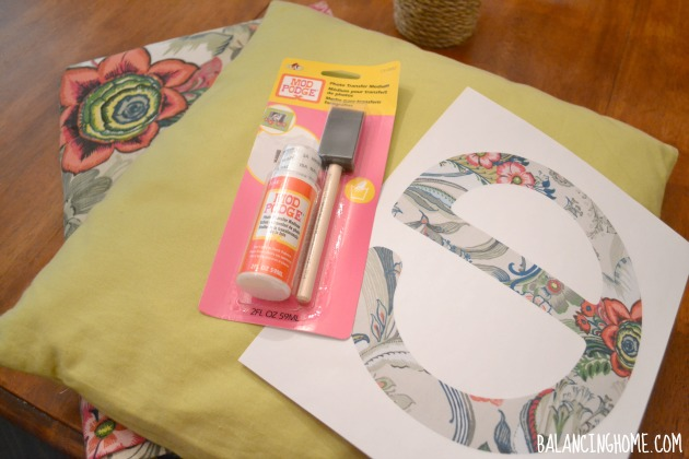 Letter Pillow via Mod Podge Photo Transfer