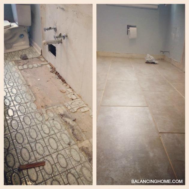 Bathroom reno- Tile before and progress