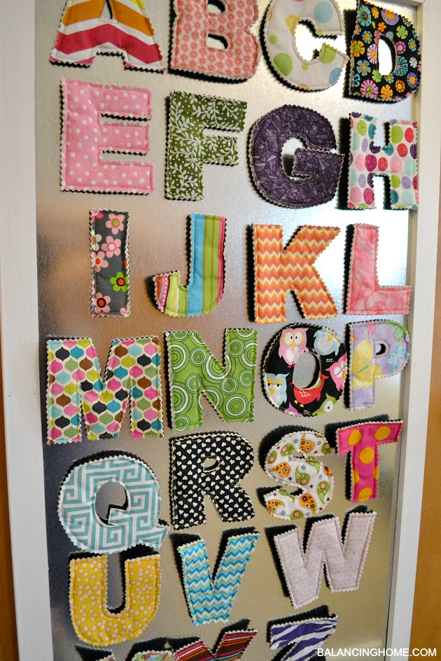 Magnetic Board For Kids Room : DIY Magnet Board in kids room with fabric magnetic letters from Crunch ...