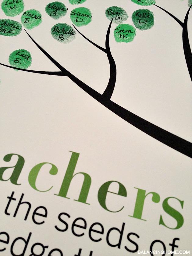 Classroom Fingerprint Tree Perfect Gift For Teacher Appreciation Or