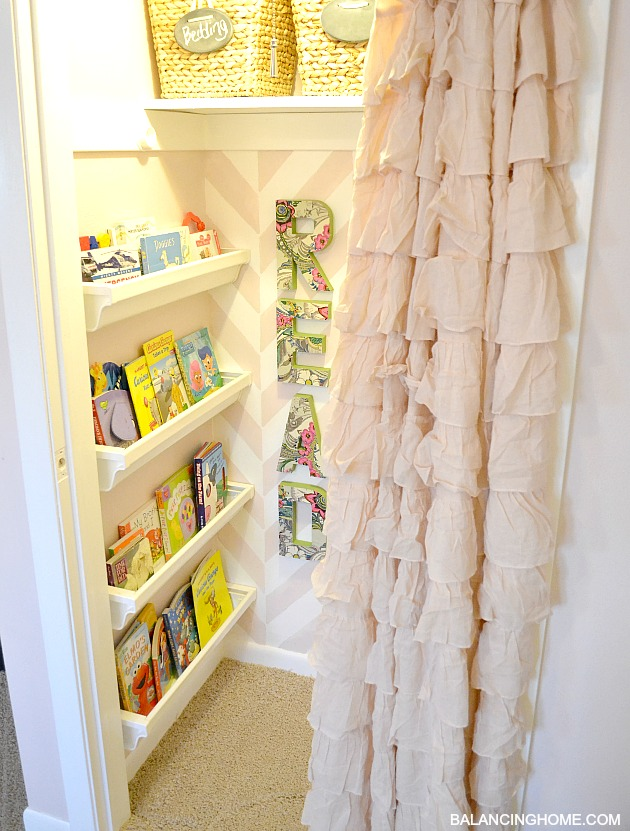 Big Girl Room Reveal with reading nook. So simple and affordable.
