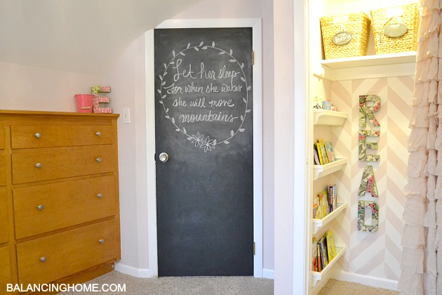 Big Girl Room Reveal - Chalkboard door and reading nook