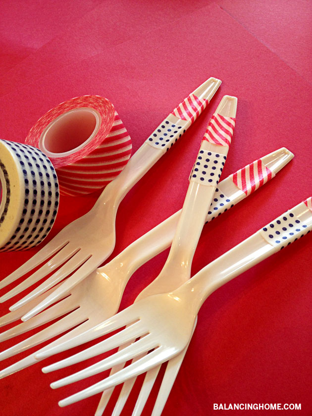 Washi Tape Forks- The simplest way to dress up plastic utensils for a party!