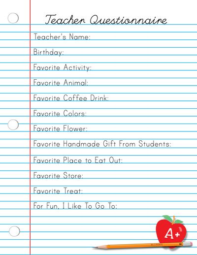 Back to School Teacher Appreciation Printable