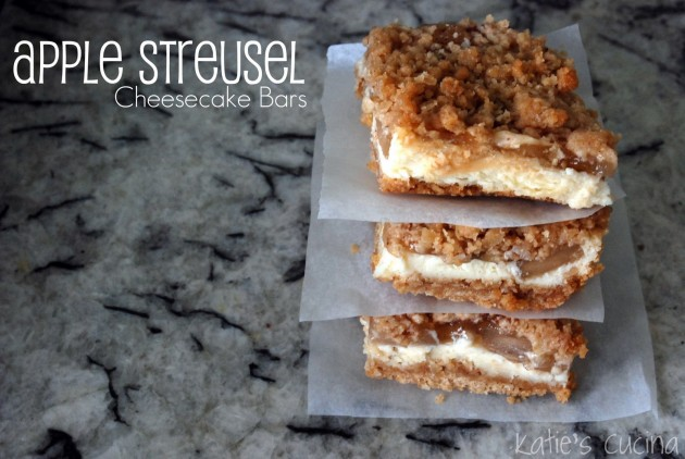 Apple Streusel Cheesecake Bars from Katie's Cucina