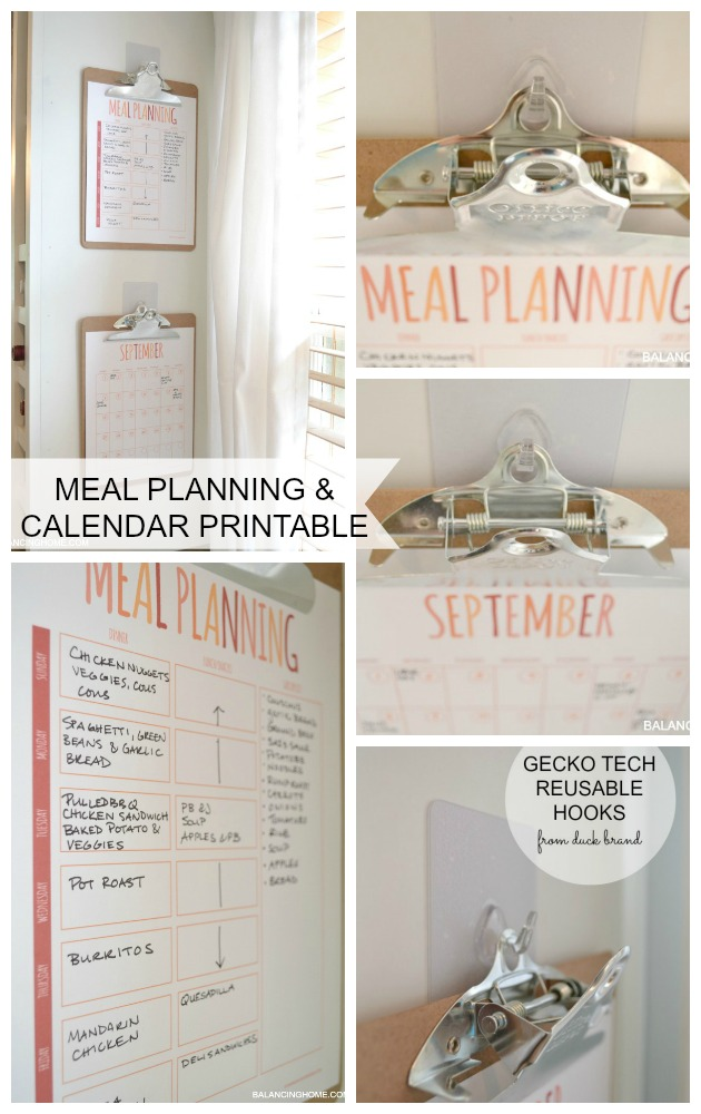MEAL PLANNING AND CALENDAR PRINTABLE WITH GECKO TECH REUSABLE HOOKS FROM DUCK BRAND