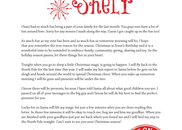 Letter From Elf On The Shelf To Child Saying Goodbye The Best