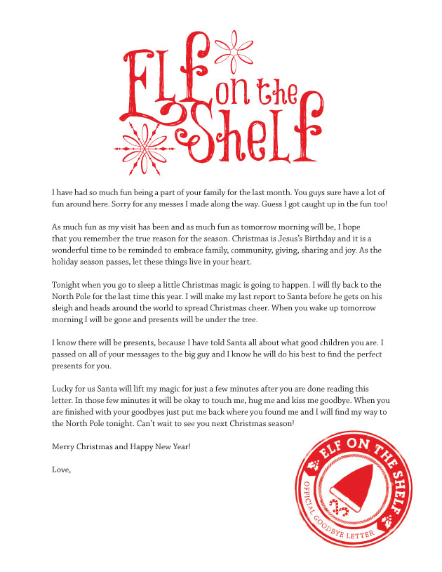 Elf On Shelf Goodbye Letter About Jesus | Calendar Template 2016
