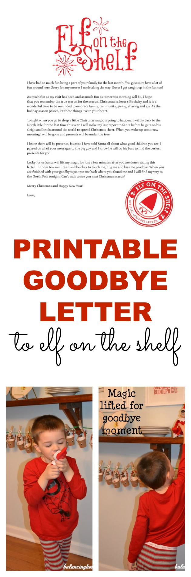 printable goodbye letter for Elf on the Shelf. Perfect way to wrap ...
