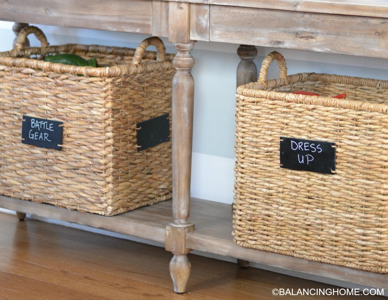 Genial Basket Under Console Toy Storage
