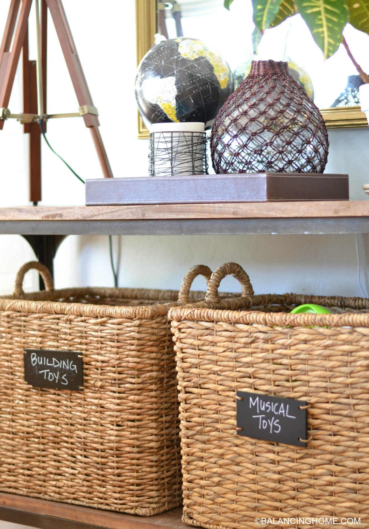 Console Table With Baskets For Toy Storage
