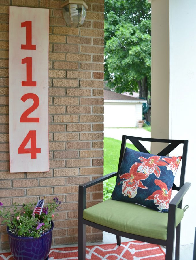 Porch Makeover Reveal & How DIY Street Number Sign