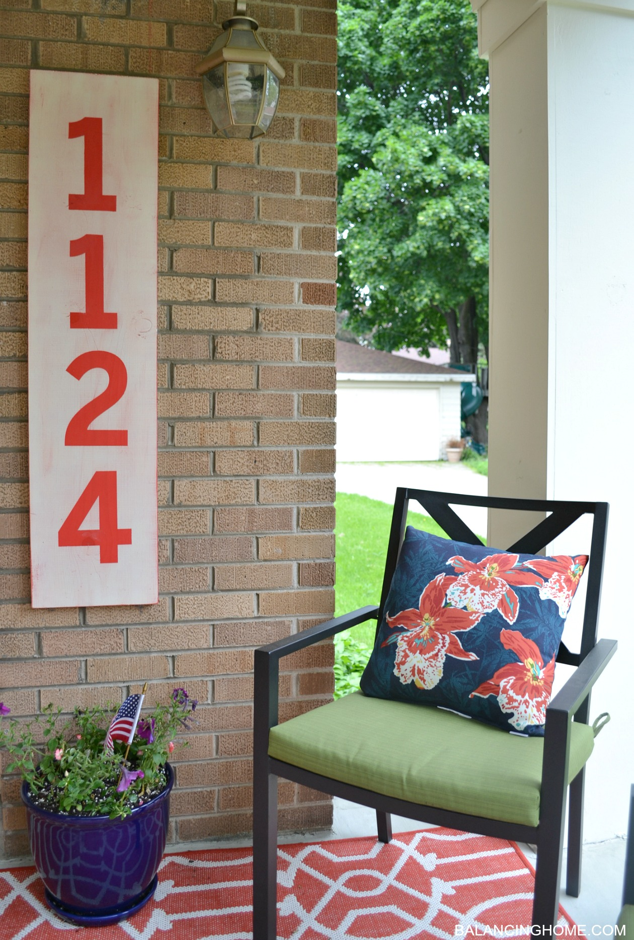 Porch Makeover Reveal & How DIY Street Number Sign - Balancing Home ...
