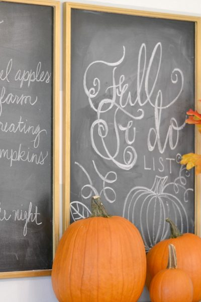 Fall Dining Room Chalkboard Bucket List