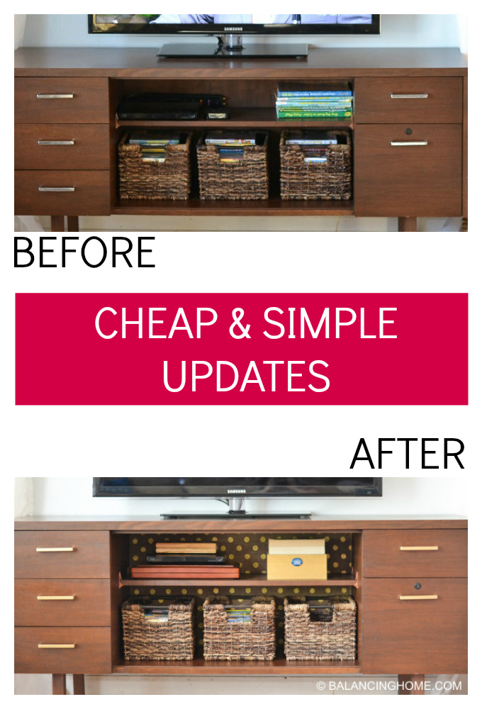 How to update a credenza or shelf with some starch, fabric and a little spray paint. Super simple and affordable.