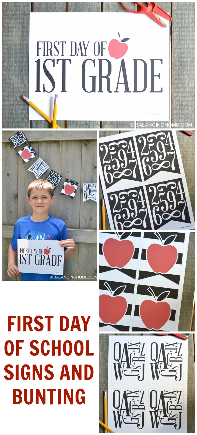 first day of school signs and back to school bunting-- black, white and red, letters, numbers and apples