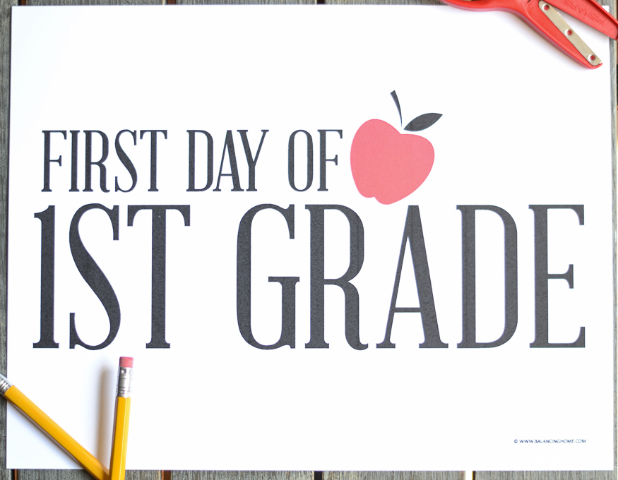 photograph about First Day of School Sign Printable titled Very first Working day of University Signs and symptoms - Absolutely free Printable - Balancing House