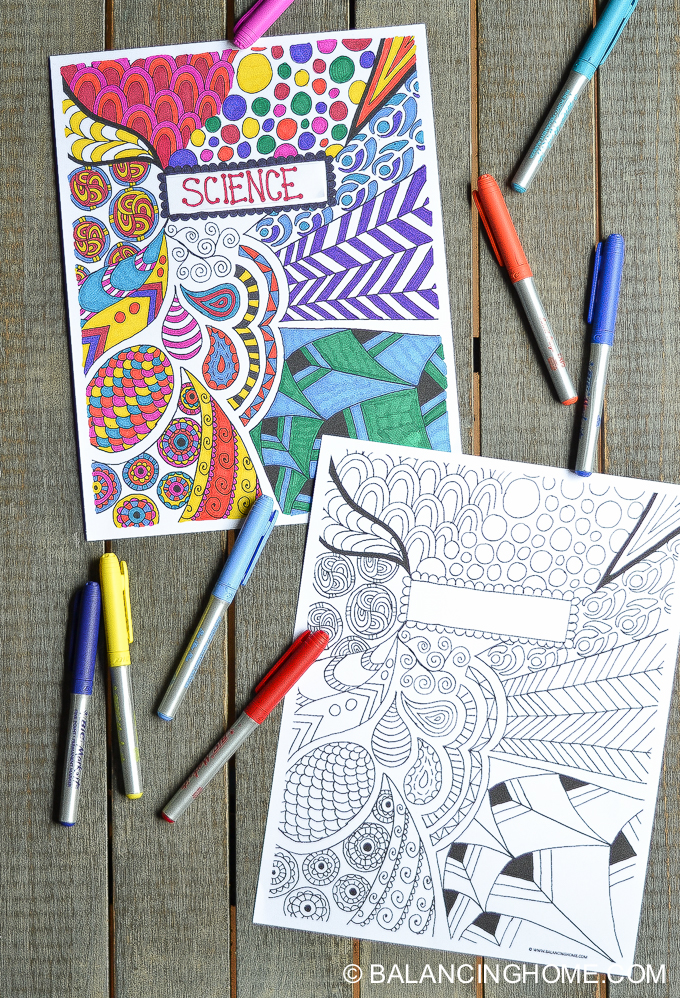 School Project Book Cover : Coloring page binder cover printable balancing home