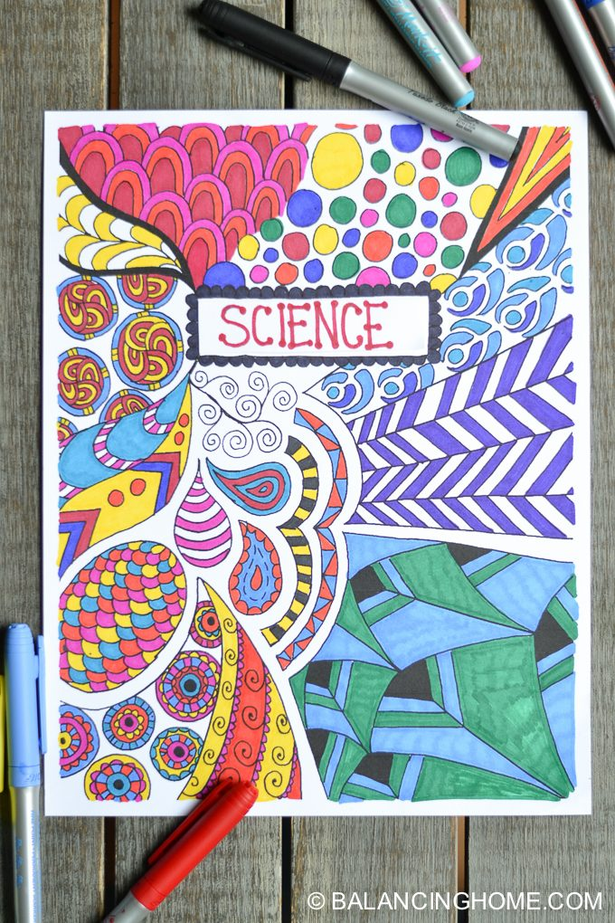 Science School Book Cover : Coloring page binder cover printable balancing home