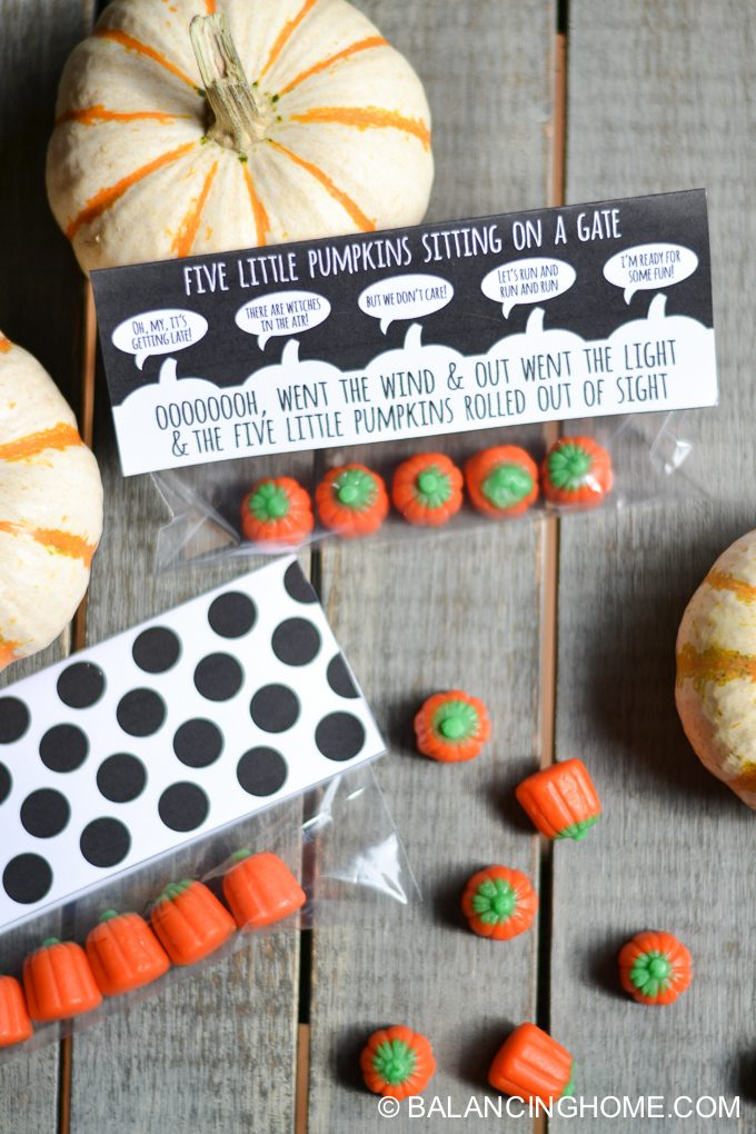 five little pumpkins halloween bag topper printable