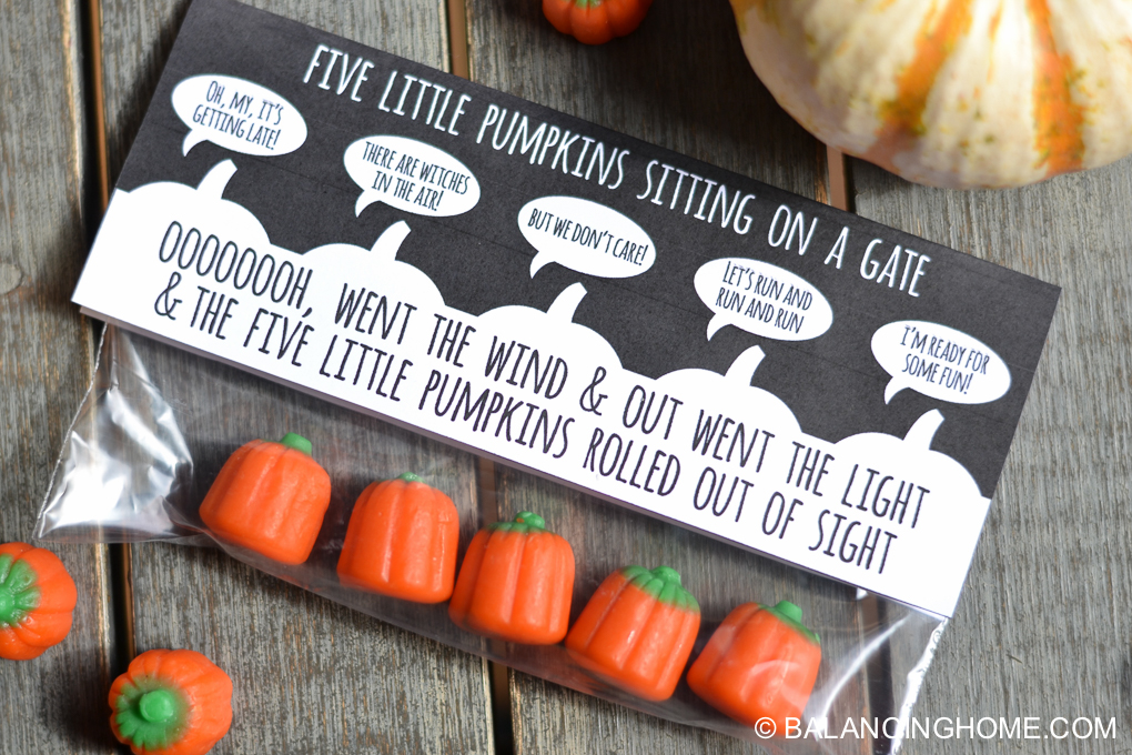 five little pumpkins sitting on a gate halloween printable balancing home