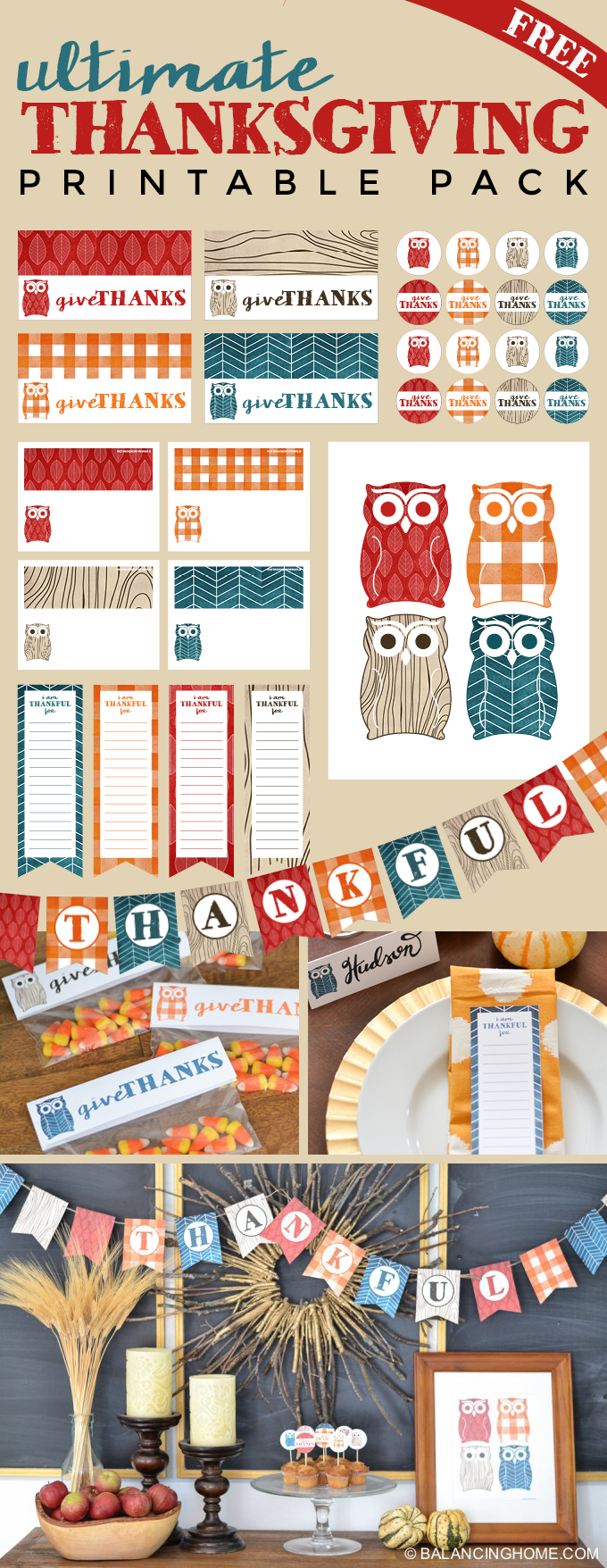 Thanksgiving printable pack with thankful bunting. Cute fall owl themed decor.