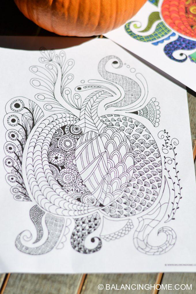 pumpkin doodle coloring sheet