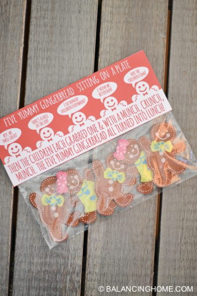 Five Yummy Gingerbread Bag Topper Printable
