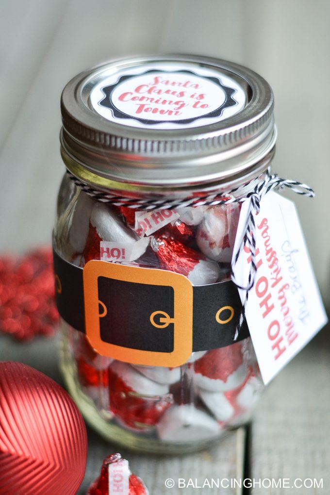 Christmas mason jar santa gift