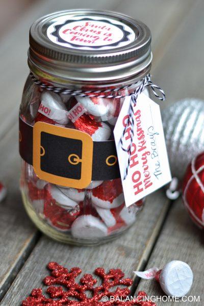 Christmas Mason Jar Santa Gift & Printable